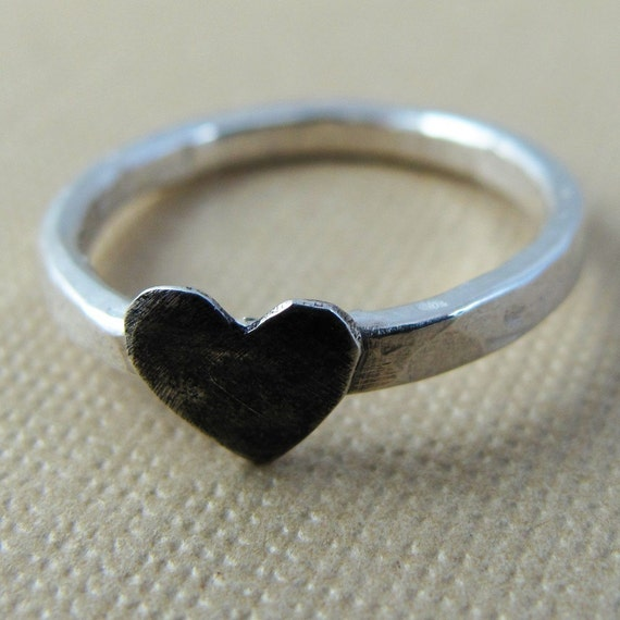 Black Heart Ring - Sterling Silver