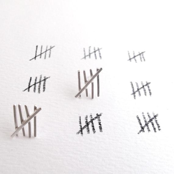 Tally Mark Earrings - Sterling Silver Posts - Five & Ten
