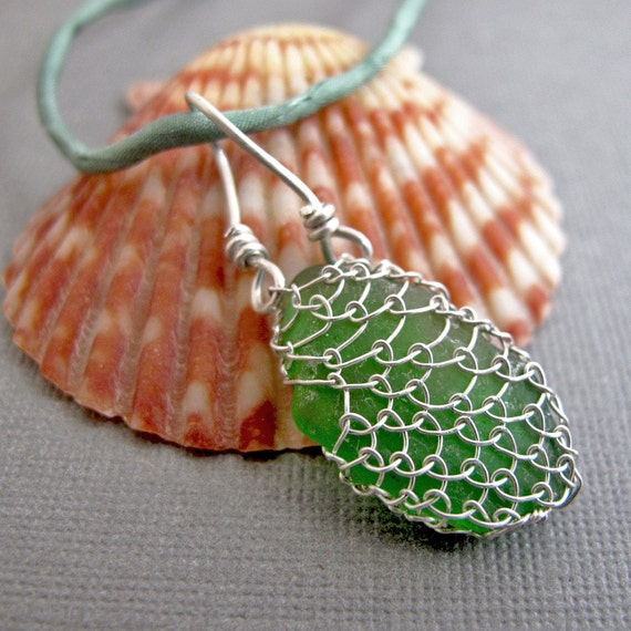 Netted Sea Glass Necklace - Silver, Silk, and Glass