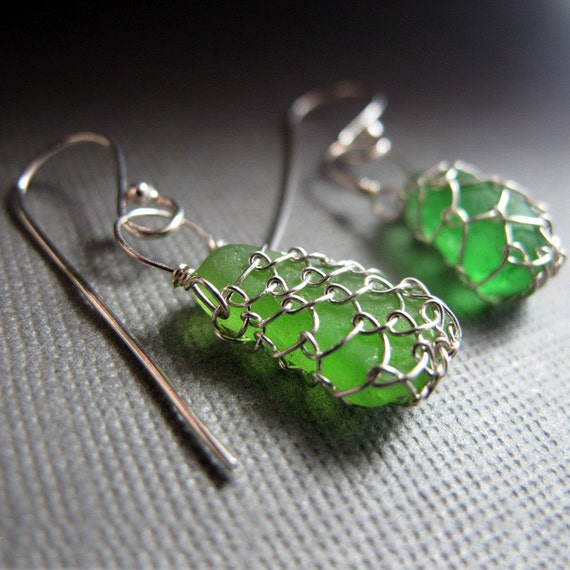 Netted Sea Glass Earrings