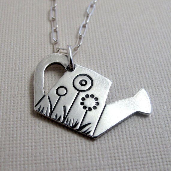 How Does Your Garden Grow Necklace - Sterling Silver Watering Can with Flowers
