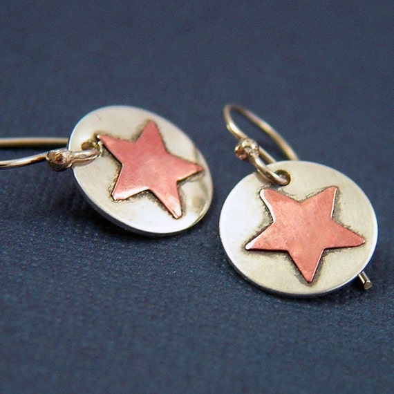 Little Stars Earrings - Sterling Silver and Copper