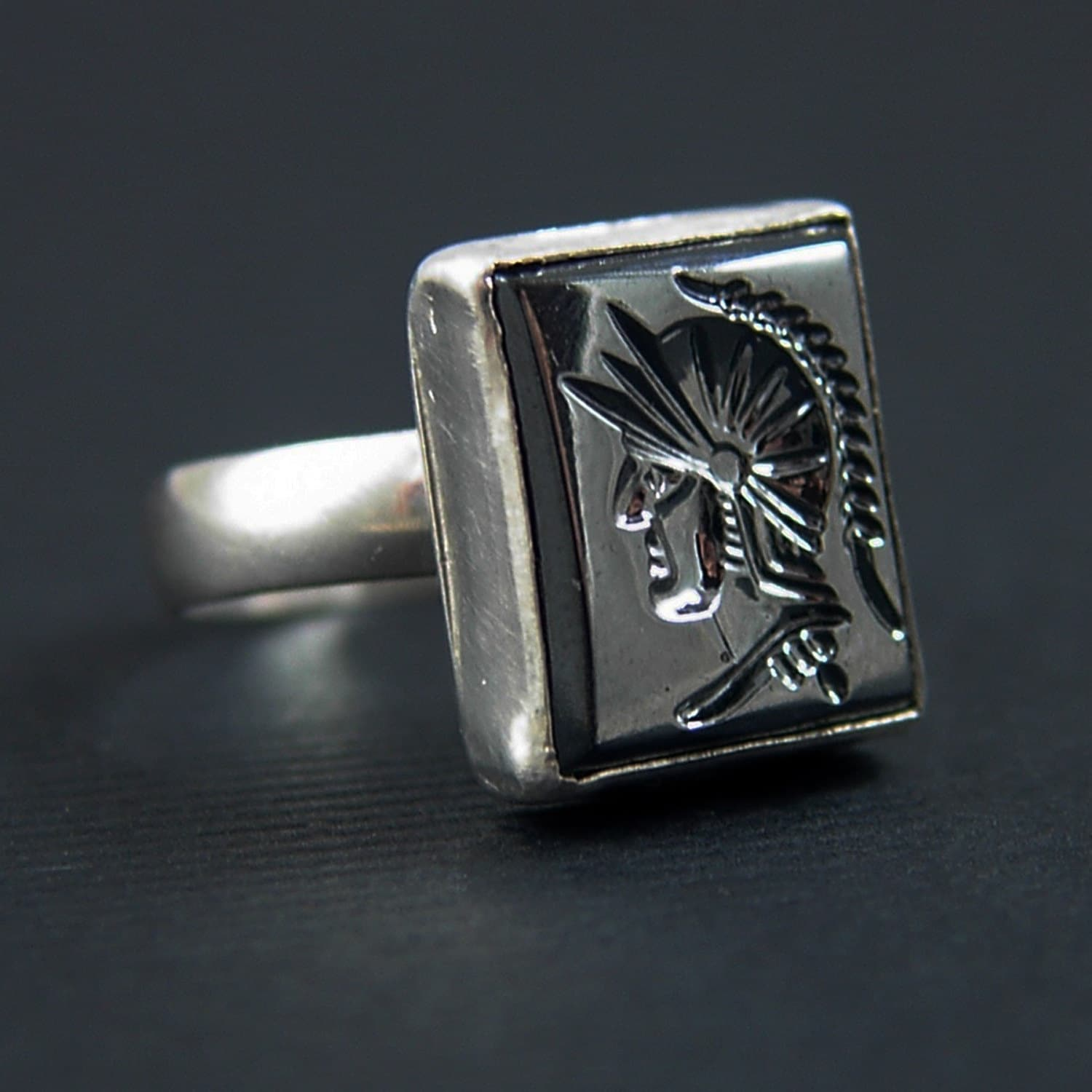 Intaglio Roman Soldier Ring Sterling Silver And Vintage