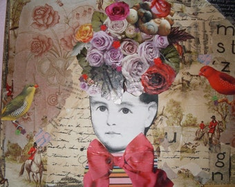 A whimsical collage canvas