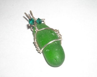 Green Seaglass Pendant in Sterling Silver
