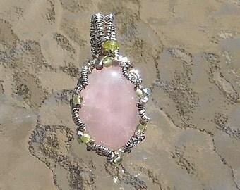 Rose Quartz and Peridot Pendant in Sterling Silver Pink Lemonade