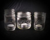 RESERVED- Olive & Anchor-3 Small Embossed Mason Jars
