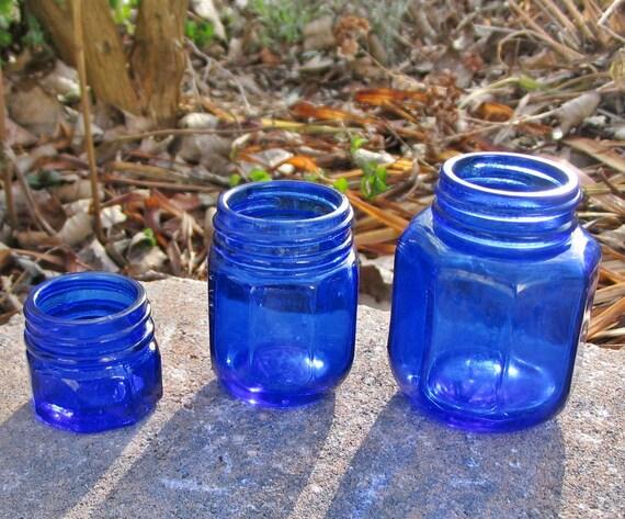 Antique Bottles-c1920s Cobalt Blue Noxzema Set (3)