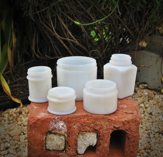 Antique Jars-c1920s-30s Embossed Milk Glass Medicinal/ Beauty Set (5)