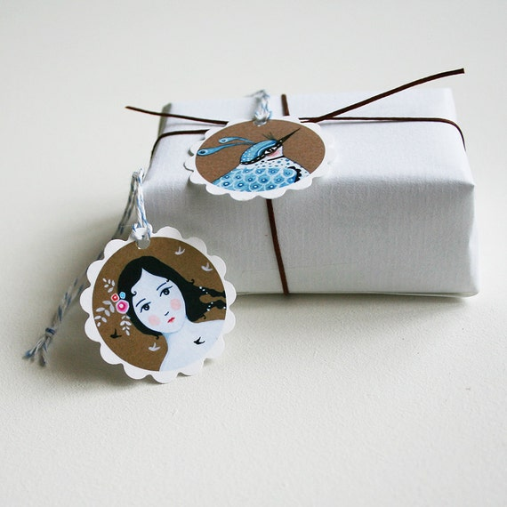 Girl with Blue Bird (Labels)