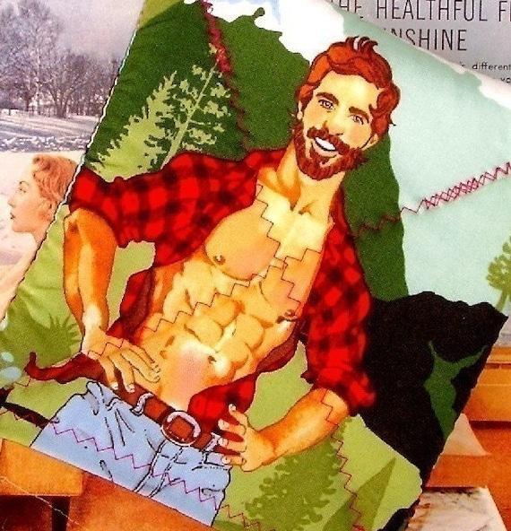 Retro Lumberjack Hunky Pinup Guy Pot-holder as seen in BUST Magazine