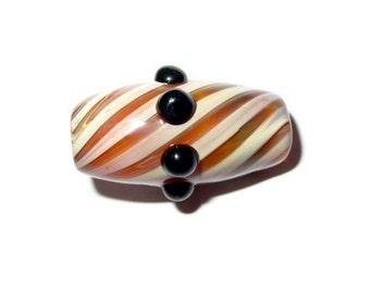 Glass focal or dreadlock bead - Caramel Swirls