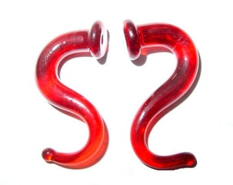 Chili Red 2g gauged earrings ear plugs talons for stretched piercings Infinite Cosmos Glass