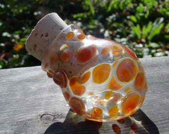Caramel Dots glass bottle stash jar - Made to Order