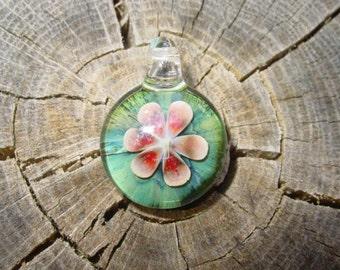 Lotus Love glass flower pendant Infinite Cosmos Glass