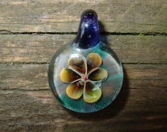 Celestial Beauty glass flower pendant Infinite Cosmos Glass