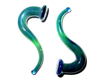 Seaweed 0g gauged ear plugs earrings talons for stretched piercings