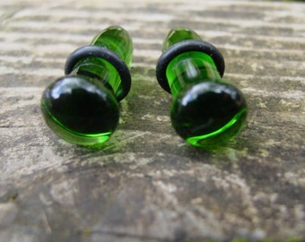 Forest Green 0g gauged ear plugs earrings for stretched piercings Made to Order