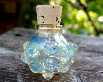 Small Knobby glass stash jar bottle Made to Order