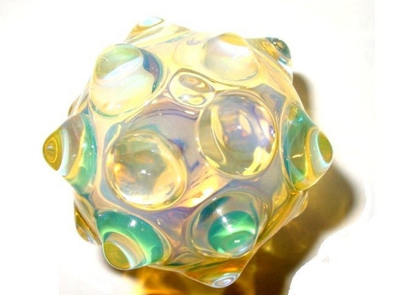 Color Changing Knobby glass stash jar by Infinite Cosmos Made to Order