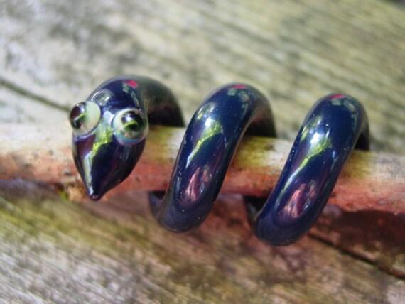 Stella the sea serpent snake glass squiggle dreadlock bead