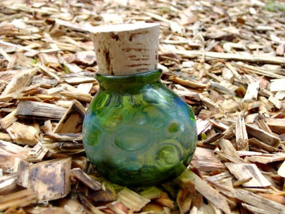 Green Dots glass stash jar bottle