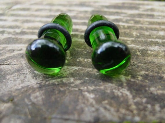 Forest Green 0g gauged ear plugs earrings for stretched piercings Infinite Cosmos Glass