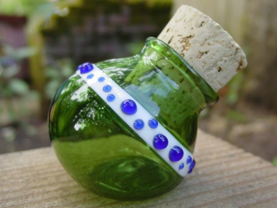 Green Dots glass stash jar bottle