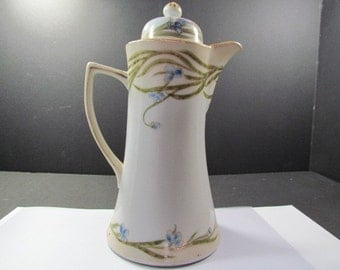 Antique Nippon Hot Chocolate Pot Hand Painted with Gilt