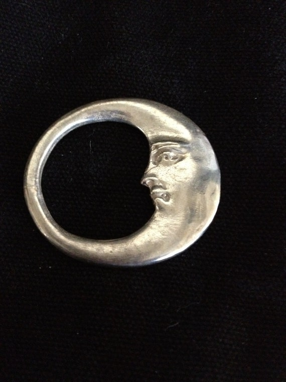 Sterling Silver Man on the Moon Pendant Necklace