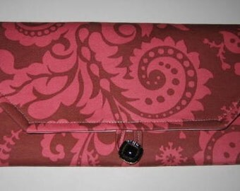 JeannieBags Wallet Clutch Pouch Amy Butler Nigella fabric Pink Toile - Ready to ship