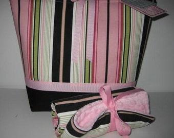 Diaper Bag Tote Large | Changing Pad Set | Pink Lime Black Stripe