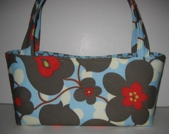 Handbag Tote Purse | Amy Butler Lotus Linen Morning Glory Polka Dot fabric | Ladies Accessory