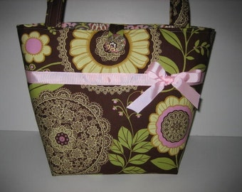 Diaper Bag Tote Purse | Amy Butler Lotus Lacework fabric | Large Lots of Pockets