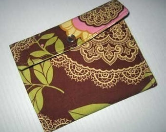 Wallet Credit Card Case | Change Coin Purse | Amy Butler Lotus Lacework fabric