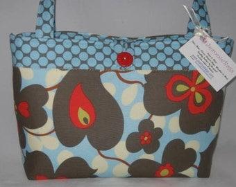 Handbag Tote Purse | Amy Butler Linen Morning Glory Lotus Full Moon Dot fabric | Medium Size Bag
