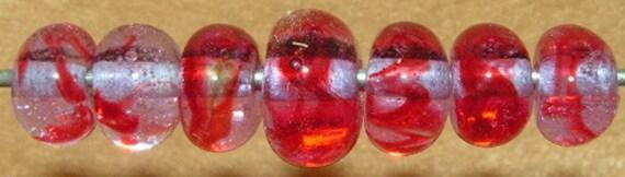 Passionate - seven boro lampwork beads - SRA K45