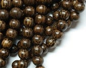 WDRD-08PM - (Five) Wood Bead, Round 8mm, Old Palm - 16 Inch Strands