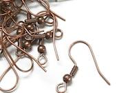 EWBAC-fhbc - Earwire, Fishhook Ball/Coil, Antique Copper - 20 Pieces (1pk)