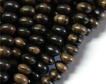 WDRN-10TE - (Three) Wood Bead, Rondelle 6x10mm, Tiger Ebony - 16 Inch Strands
