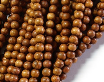 WDRD-06BY - Wood Bead, Round 6mm, Bayong - 16 Inch Strand