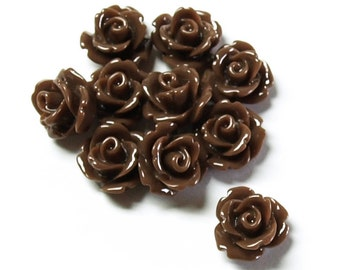 RSCRS-10CH - Resin Cabochon, Rose 10mm, Chocolate - 10 Pieces (1pk)