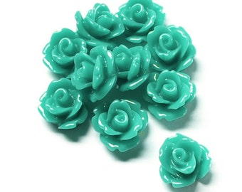 RSCRS-10TQ - Resin Cabochon, Rose 10mm, Turquoise - 10 Pieces (1pk)