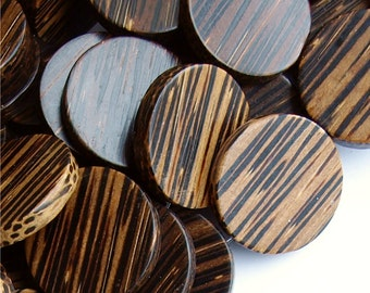 Wood Bead, Coin 30mm, Old Palm - 16 Inch Strand (WDCN-30PM)