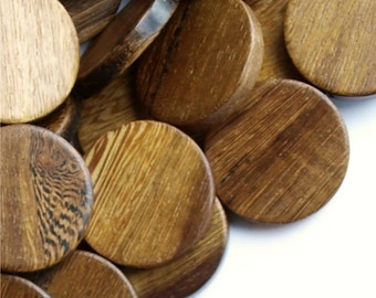 WDCN-30RB - Wood Bead, Coin 30mm, Robles - 8 Inch Strand