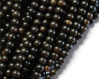 WDRD-06TE - (Five) Wood Bead, Round 6mm, Tiger Ebony - 16 Inch Strands