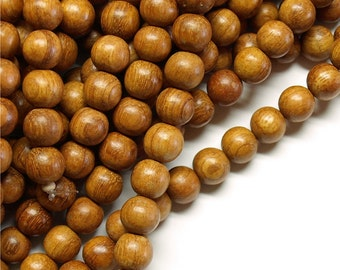 WDRD-08BY - (Five) Wood Bead, Round 8mm, Bayong - 16 Inch Strands