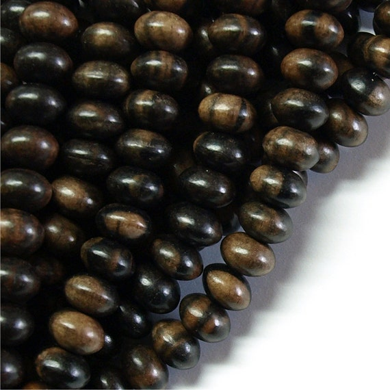 WDRN-10TE - Wood Bead, Rondelle 6x10mm, Tiger Ebony - 16 Inch Strand