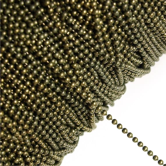 CHBAB-bl15 - Chain, Ball 1.5mm, Antique Brass - 1 Meter
