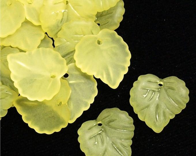 LCLF-16LE - Lucite Bead, Heart Leaf 16mm, Lemon Matte - 20 Beads (1pk)